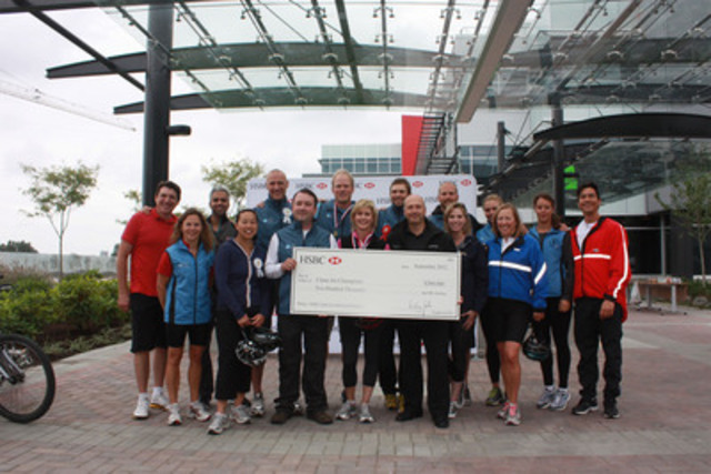 Clean Air Champions Celebrity Tandem Bike Race participants - including local Vancouver media celebrities, Olympians and National Team athletes - gather to celebrate a $200,000 donation from HSBC Bank Canada in support of the HSBC Clean Air Achievers program. (CNW Group/Clean Air Champions)