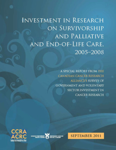 Report shows that $1 of every $20 invested in cancer research was focused on survivorship and palliative and end-of-life care. (CNW Group/Canadian Cancer Research Alliance)