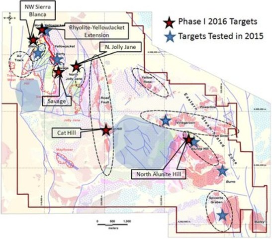 Figure 1: Map of first phase 2016 exploration targets, North Bullfrog project, Nevada (CNW Group/Corvus Gold Inc.)