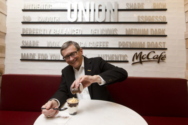 John Betts, President and CEO of McDonald's Canada, creating a McCafé Affogato, one of the signature items on the café menu at the first standalone McCafé at Toronto's Union Station. (CNW Group/McDonald's Canada)