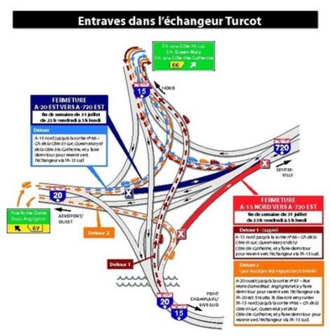 Projet Turcot à Montréal - Travaux de la fin de semaine du 31 juillet 2015 (Groupe CNW/Ministère des Transports)