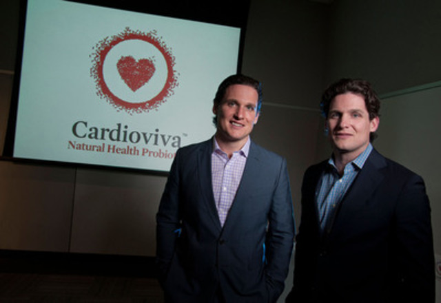 "(L-R) Ryan Jones and Dr. Mitchell Jones, the Canadian team behind Cardioviva, unveiled the new probiotic supplement in Toronto this week. Cardioviva is clinically proven to lower LDL (""bad"") cholesterol, a risk factor in heart disease. (CNW Group/The Winning Combination)"