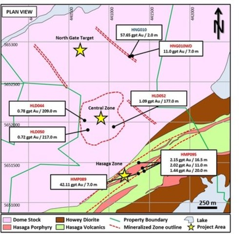 Figure 1: Plan view of primary drill target areas at Hasaga (CNW Group/Premier Gold Mines Limited)