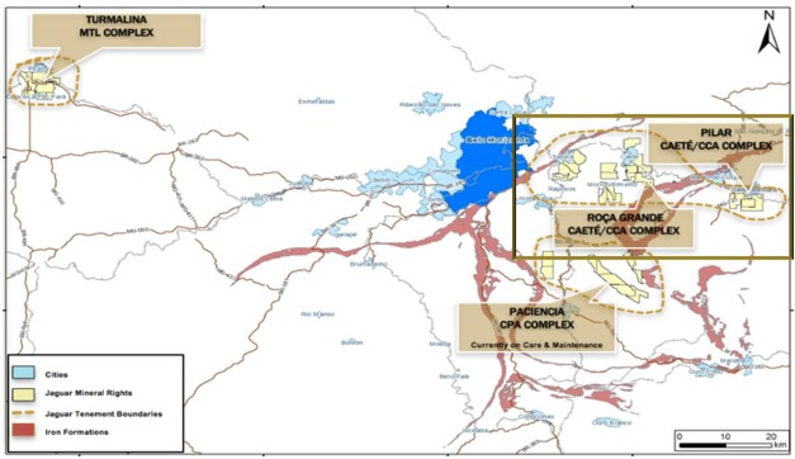 Figure 1: Locations of Jaguar´s Mining and Mineral Rights
