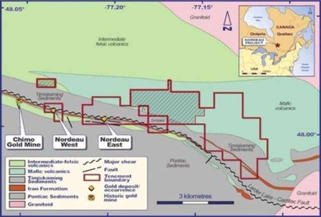 Figure 1.  Location map of the Nordeau Gold Project (cross hatched are owned 60% by Globex) (CNW Group/Chalice Gold Mines Limited)