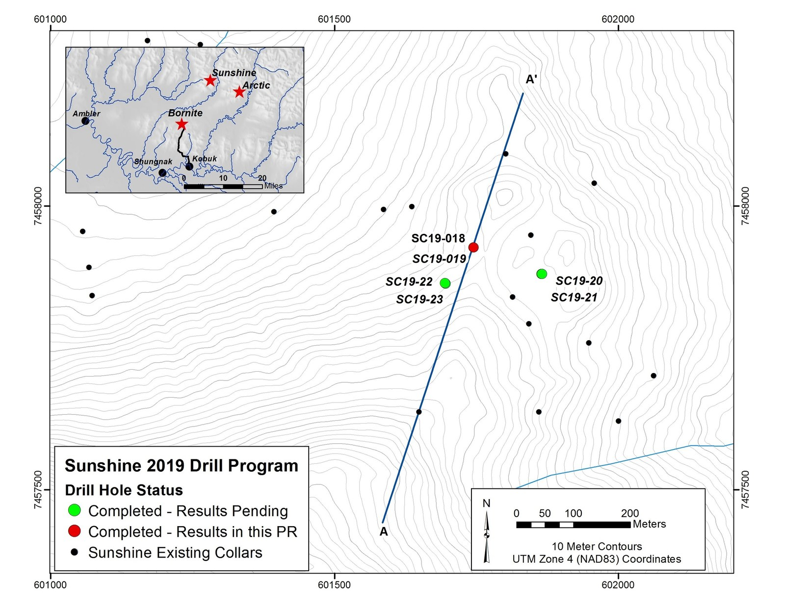 Figure 4- Map Showing Location of 2019 Drilling Program at Sunshine