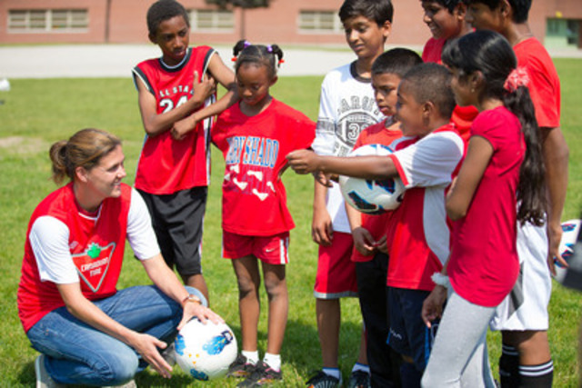 Canadian Tire Family of Companies and Christine Sinclair kick-off four year partnership with soccer equipment donation at Mary Shadd Public School this morning in Toronto (CNW Group/CANADIAN TIRE CORPORATION, LIMITED)