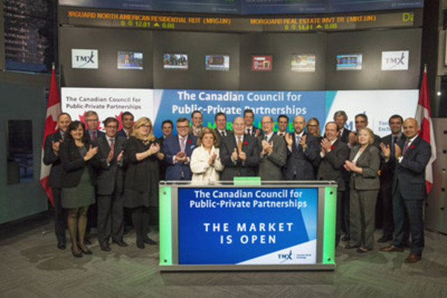 Mark Romoff, President & CEO, The Canadian Council for Public-Private Partnerships (CCPPP), joined Loui Anastasopoulos, President, TSX Trust Company, and Managing Director, TSX Company Services, Equity Capital Markets, TMX Group, to open the market to celebrate The 24th Annual CCPPP National Conference. Established in 1993, The CCPPP is a national non-profit member-based organization with representation across the public and private sectors. The Council, which has over 400 member-organizations, facilitates the adoption of international best practices, and educates stakeholders and the community on the economic and social benefits of public-private partnerships. The 24th Annual CCPPP National Conference – INNOVATING OUR FUTURE, will be held at the Sheraton Centre Hotel in Toronto on November 14 & 15. (CNW Group/TMX Group Limited)