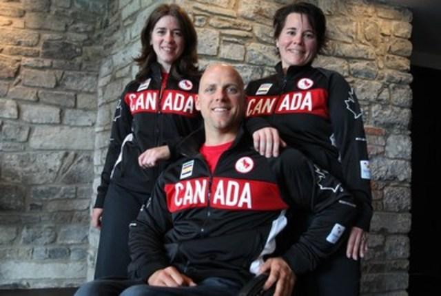 Marie-Claude Molnar, Charles Moreau et  Marie-Ève Croteau qui sont parmi les 12 paracyclists mis en nomination à l'Equipe Canada pour les Jeux paralympiques de Rio 2016. (Groupe CNW/Comité paralympique canadien (CPC))