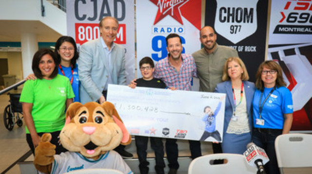 The Caring for Kids Radiothon raised an outstanding $ 1,300,428 million to benefit the Montreal Children's Hospital. From left to right: Lynn Martel, Vice-president at Dormez-vous?, Sandra Woo of the Montreal Children's Hospital Foundation (MCHF), Aaron Rand (CJAD 800), 12-year-old  David Saracino, the 2016 Radiothon spokeschild, Marc Bergman (Virgin Radio 96), Bilal Butt (CHOM 97 7), Marie-Josée Gariépy, President (MCHF) and Janice Nault (MCHF). (CNW Group/The Montreal Children's Hospital Foundation)