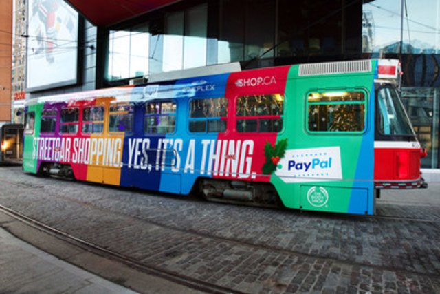 Predicting a rise in Commuter Commerce, PayPal launched a special holiday-themed streetcar featuring Canadian retailers that will run on high traffic streets in Toronto starting today. (CNW Group/PayPal Canada)