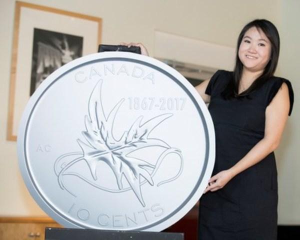 La Monnaie royale canadienne a dévoilé les motifs gagnants des pièces de circulation Canada 150 le 2 novembre 2016. Amy Choi, de Calgary, en Alberta, a conçu le motif de la pièce de 10 cents, Les ailes de la paix. Les cinq pièces Canada 150 seront mises en circulation au printemps 2017. (Groupe CNW/Monnaie royale canadienne)