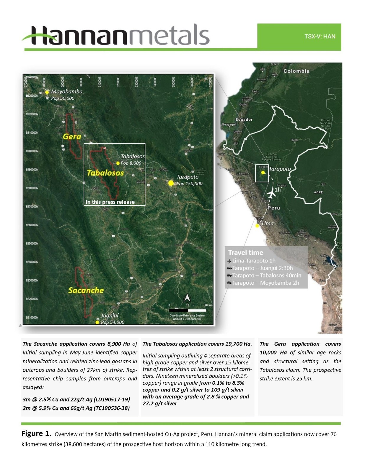 Figure 1. Overview of the San Martin sediment-hosted Cu-Ag project, Peru. Hannan's mineral claim applications now cover 76 kilometres strike of the prospective host horizon within a 110 kilometre long trend.