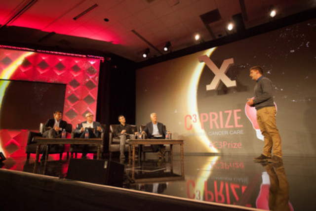 Vancouver's Kevin Linn pitched an app that will secure transportation for patients to and from cancer treatments to the judges, including Robert Herjavec. The live pitch took place at Stanford's recent Medicine X Conference. The international Astellas Oncology C3 Prize Contest seeks innovative non-medicine ideas to help improve cancer care. (CNW Group/Astellas Pharma Canada, Inc.)