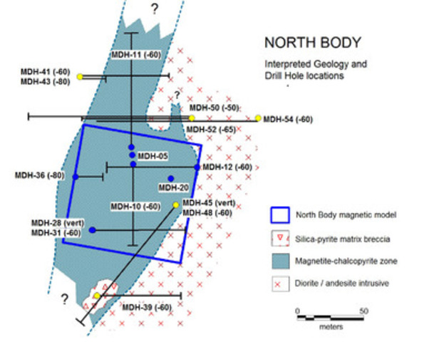Figure 3. Modelled magnetite body shown in blue frame, drill hole locations and interpreted strike extension of magnetite-chalcopyrite mineralisation shown by shaded background. Holes reported below shown with yellow collar. (CNW Group/RTG Mining Inc.)