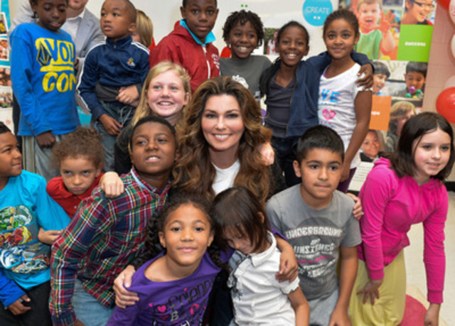 Shania Twain, the Dilawri Foundation and the Peel board launch Shania Kids Can Clubhouse at Brampton school (CNW Group/Peel District School Board)