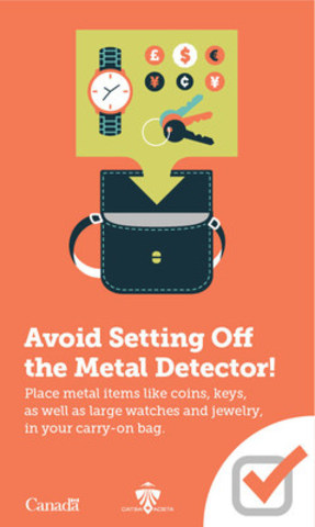 For faster screening, avoid setting off the metal detector. (CNW Group/Canadian Air Transport Security Authority (CATSA))