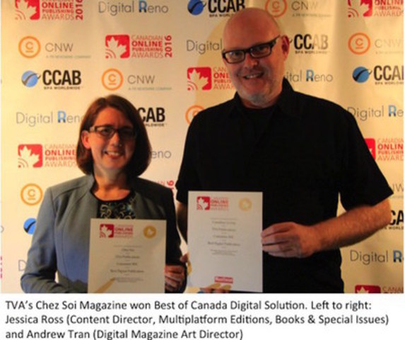 TVA's Chez Soi Magazine won Best of Canada Digital Solution. Left to right: Jessica Ross (Content Director, Multiplatform Editions, Books & Special Issues) and Andrew Tran (Digital Magazine Art Director) (CNW Group/Canadian Online Publishing Awards (COPA))