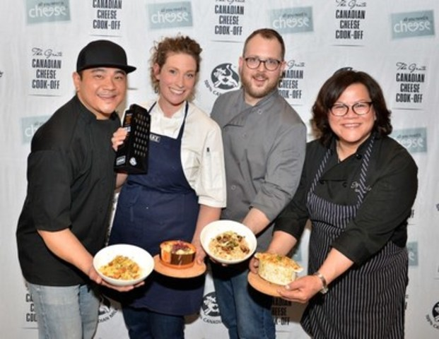 This year's competitors at the Grate Canadian Cheese Cook-Off, hosted by Dairy Farmers of Canada, included Chef Thompson Tran from British Columbia, Chef Alexandra Feswick from Ontario (winner!), Chef Andrew Farrell from Nova Scotia, and Chef Nicole Gomes from Alberta. www.allyouneedischeese.ca/cookoff (CNW Group/Dairy Farmers of Canada (Marketing and Nutrition))
