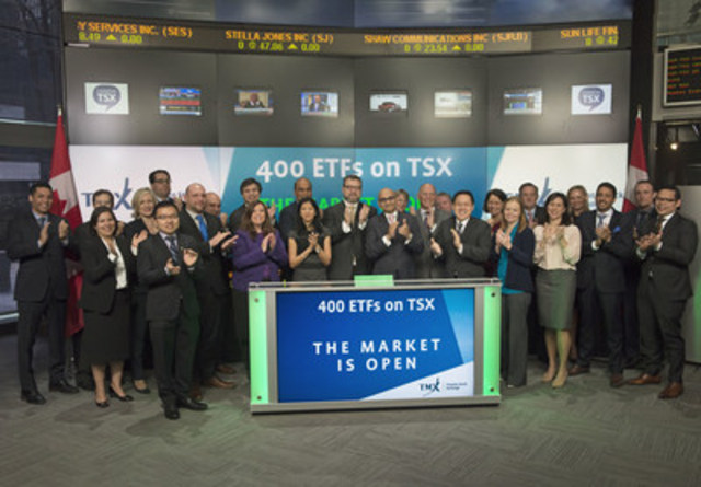 Exchange Traded Fund (ETFs) industry participants joined Shaun McIver, Chief Client Officer, Equity Capital Markets, TMX Group to open the market in celebration of TSX reaching a new Exchange Traded Fund milestone. Toronto Stock Exchange currently has over 400 ETFs listed with a market value of approximately $106 billion. In attendance were representatives from the 16 ETF providers, the Canadian ETF Association, and other ETF service providers. (CNW Group/TMX Group Limited)