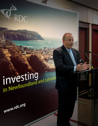 RDC today announced more than $1.6 million for 18 Newfoundland and Labrador-based companies doing innovative R&D including Blue Oceans Satellite Systems of St. John's. Paul Anderson, the company's president and CEO, spoke during the announcement. (CNW Group/Research & Development Corporation)