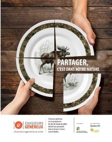 Partager, c'est dans notre nature. (Groupe CNW/Fédération québécoise des chasseurs et pêcheurs)