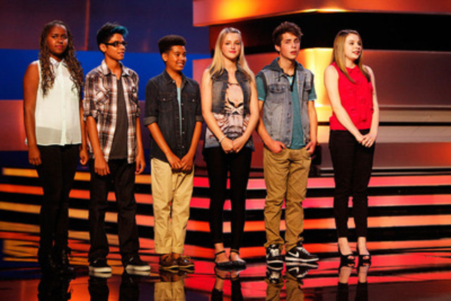 The Next Star's Top 6 from left to right: Kat, Dante, Jaden, Alicia, Alex and Paige (CNW Group/YTV Canada Inc.)