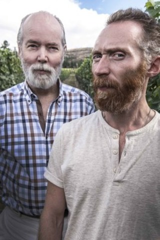 Artist Douglas Coupland and Van Gogh lookalike Daniel Baker together in the Pinot Noir vineyard at Martin's Lane Winery in the Okanagan Valley, British Columbia. (CNW Group/VMF Estates)