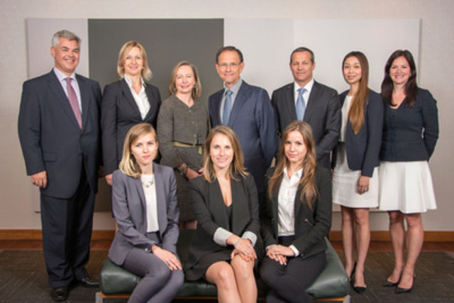 Executive Vice-President, Financial Markets, Ricardo Pascoe (centre), is flanked by members of the Financial Markets Management Committee and staff, Brian Davis, Beata Swist, Susan Monteith, Sean St. John, Sandy Lam and Isabelle Paquet, with the 3 recipients of the sixth edition seated: Sarah Brown, Pascale Venne, and Justine Bergeron. (CNW Group/National Bank of Canada)