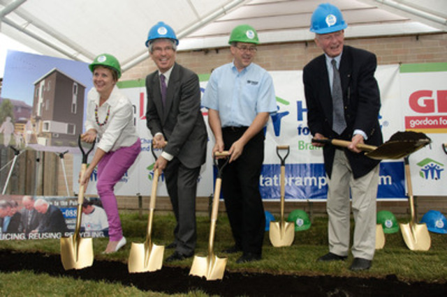 (l-r) Gordon Food Service Director of Multi Unit Sales Lisa MacNeil, BDO Mississauga Managing Partner Peter Campbell, Habitat for Humanity Executive Director Thomas Fischer and former Ontario Premier Bill Davis turn the sod for a new Habitat home at a groundbreaking ceremony in Brampton, Ontario, on June 22, 2011. (CNW Group/Habitat for Humanity Brampton)