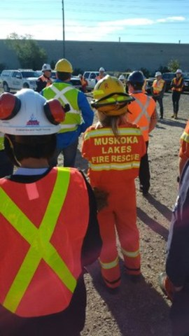 ERAC responders participate in a full-scale hands-on exercise involving three simultaneous live-transfers of flammable product (LPG and light synthetic crude) from rail cars at training exercise in conjunction with CN on Thursday, Sept. 15 in Brampton, Ontario. (CNW Group/CN)