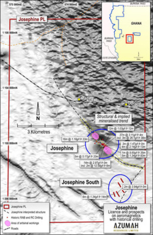 Figure 4: Map of Josephine Area (CNW Group/Azumah Resources Inc)