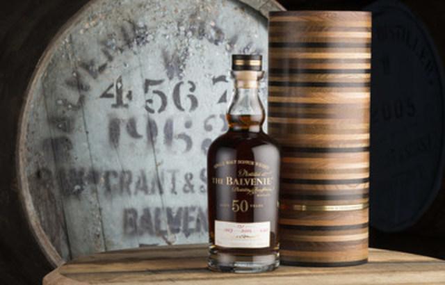 Une des 131 bouteilles jamais produites (et la SEULE offerte à la vente au Canada), le Balvenie 50, Cask 4567, vous attend à la Boutique hors taxes IGL, au poste frontalier sur la route de Montréal à New York. (Groupe CNW/William Grant & Sons Ltd.)