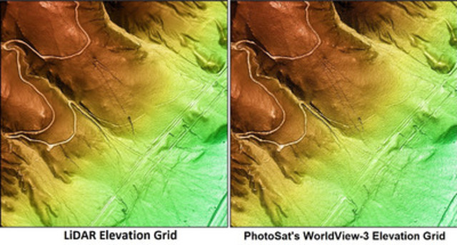 LiDAR elevation grid vs PhotoSat's WorldView-3 elevation grid showing minor differences in detail (CNW Group/PhotoSat Information Ltd)