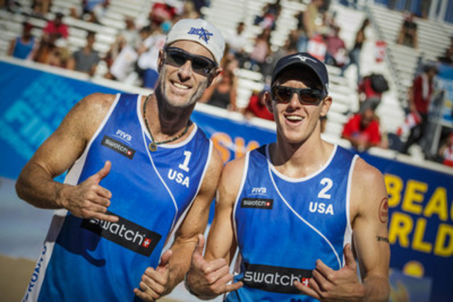Tri Bourne (USA) and John Hyden (USA) (CNW Group/Swatch Beach Volleyball Major Series)