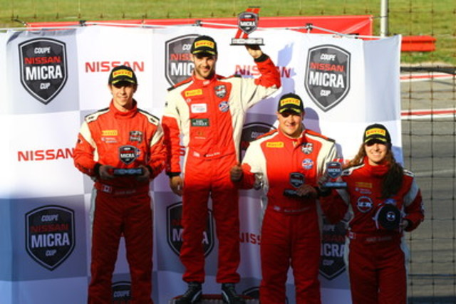 First race podium: Kevin King, Olivier Bédard, Marc-Antoine Demers and Ashley Sahakian, first rookie (CNW Group/Nissan Canada Inc.)