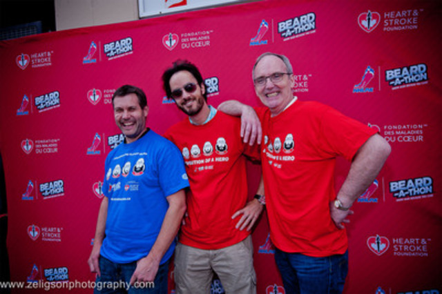 Heart and Stroke Foundation, Ontario, COO, Tom McAllister (right), shows off his freshly-shaved mug with top Beard-a-thon Fundraiser, Jason Fabro (centre) and NHLPA Goals & Dreams Chairman, Devin Smith (left). Fabro surpassed his fundraising goal, raising a total of $8,343.47 throughout the playoffs. (CNW Group/HEART AND STROKE FOUNDATION OF CANADA)