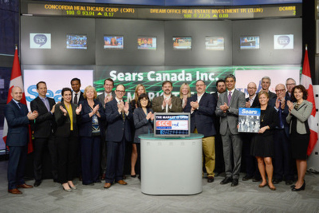 Ron Boire, President & CEO, Sears Canada (SCC) joined Ungad Chadda, Senior Vice President, Toronto Stock Exchange to open the market to celebrate 50 years as a Toronto Stock Exchange (TSX)  listed company. Sears Canada Inc. is a Canadian retail company offering department stores, specialty stores, general merchandise catalogue and home related services. Sears Canada Inc. opened in 1953 and has 113 department stores across Canada with a market value on TSX of $1.1 billion.  Sears Canada Inc. commenced trading on TSX on April 5, 1965. (CNW Group/Toronto Stock Exchange)