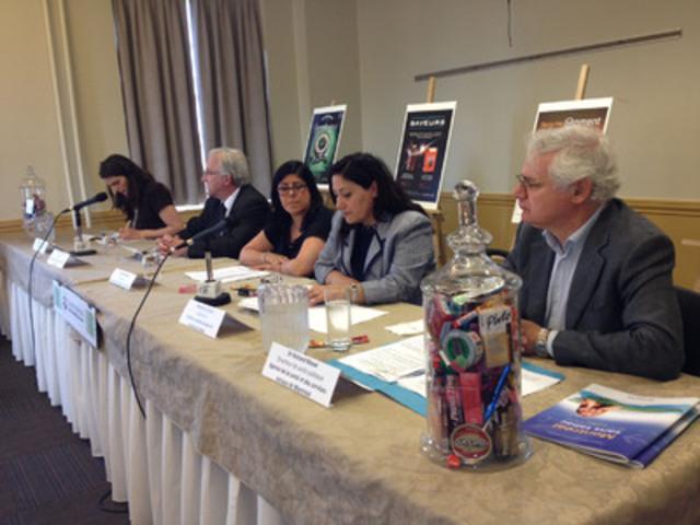 Les porte-parole lors de la conférence (Groupe CNW/COALITION QUÉBÉCOISE POUR LE CONTRÔLE DU TABAC)