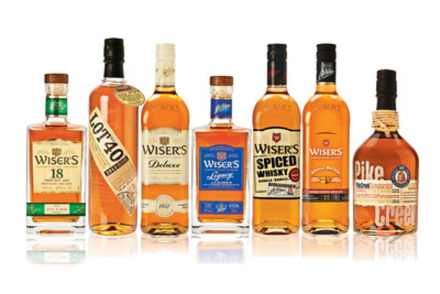 Wiser's 18 Year Old, Lot No. 40, Wiser's Deluxe, Wiser's Legacy, Wiser's Spiced, Wiser's Small Batch, Pike Creek (CNW Group/Corby Distilleries Limited)