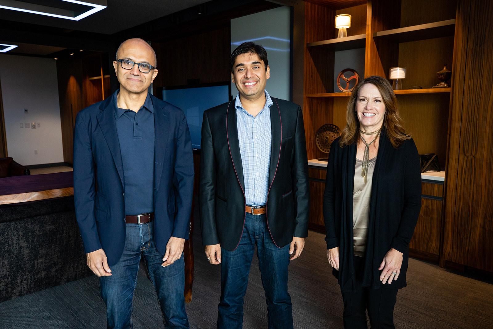 Satya Nadella (Microsoft), Naveen Tewari (InMobi), Peggy Johnson (Microsoft)