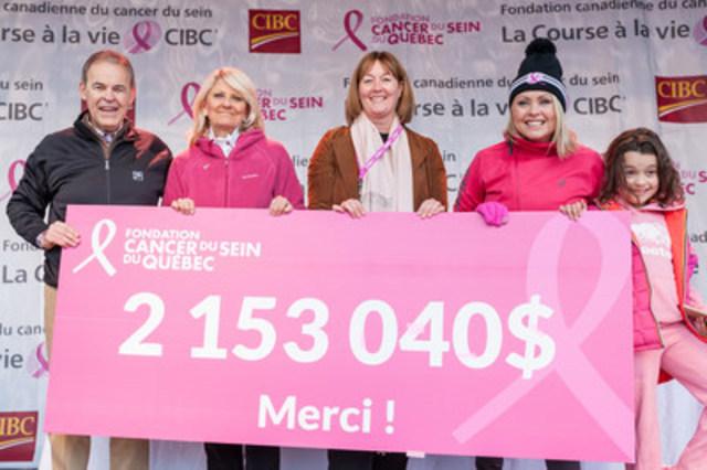 De gauche à droite : Sylvain Vinet, Chef régional - Région de l'Est du Canada, Banque CIBC; Pam McLernon, Fondatrice, FCSQ; Nathalie Tremblay, Présidente-directrice générale, FCSQ; Mitsou Gélinas, Porte-parole bénévole, FCSQ, et sa fille. (Groupe CNW/Fondation du cancer du sein du Québec)