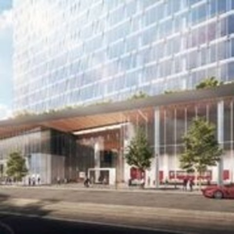 View of main entrance of proposed office tower at 100 Queens Quay East. Image courtesy of Menkes Developments Ltd. (CNW Group/Menkes Developments Ltd.)