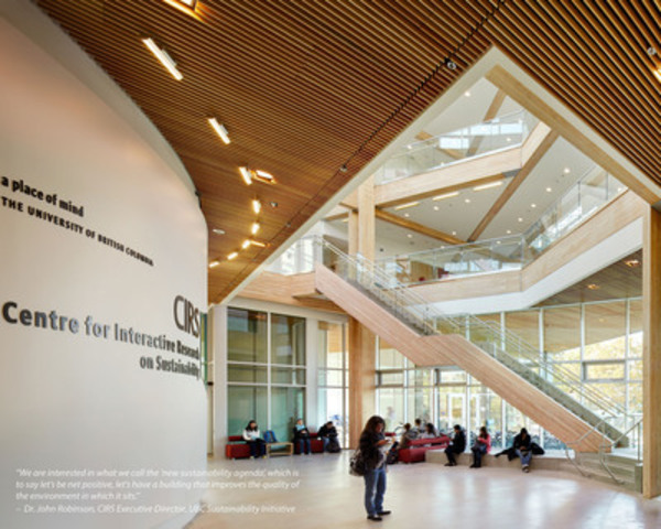 Wood WORKS! BC 2013 Green Building Award recipient: Peter Busby, Perkins + Will |Centre for Interactive Research on Sustainability, Vancouver, BC (CNW Group/Canadian Wood Council for Wood WORKS! BC)