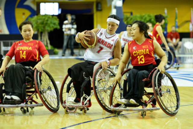 Team Canada's Cindy Ouellet faces China at the 2014 Women's World Wheelchair Basketball Championship on June 22, 2014 at the Mattamy Athletic Centre in Toronto, Ont. (CNW Group/Wheelchair Basketball Canada)