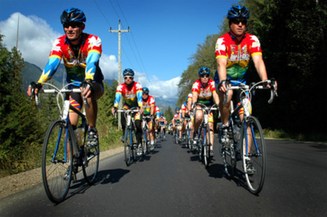 Cops for Cancer riders on the road in BC for research and support for children with cancer. (CNW Group/Canadian Cancer Society (BC and Yukon Division))