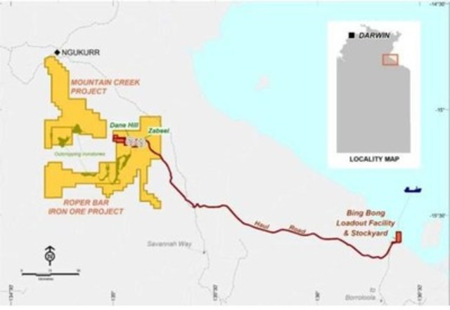 Macarthur Minerals and Tulshyan Group to acquire debt facilities secured over Western Desert Resources Limited's Roper Bar Iron Ore Project (CNW Group/Macarthur Minerals Limited)