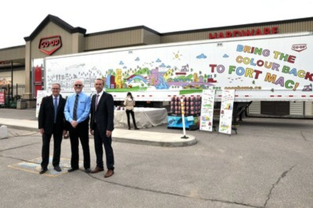 From left, Tony Steier, FCL's Director Home and Building Supplies, Grant Wicks, General Manager of Saskatoon Co-op, and Ron Healey, FCL's Associate Vice-President Ag and Home, announced the donation of 400 cans of paint on June 27. The donation will help restore buildings in Fort McMurray, Alta., and will be delivered with a mural and messages of encouragement. (CNW Group/Federated Co-operatives Limited)