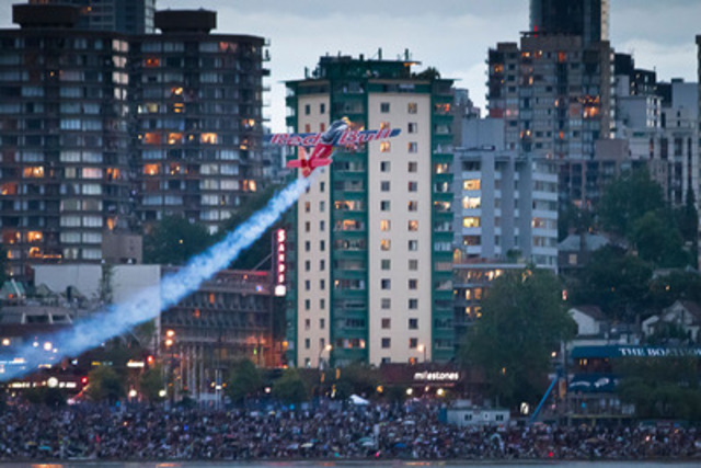 Pilot Pete McLeod flies his aerobatic Edge 540 aircraft at the Celebration of Light in Vancouver, BC (CNW Group/Red Bull Canada)