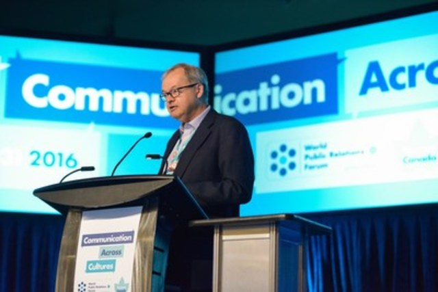 Bruce MacLellan, APR, FCPRS, Chairman and CEO of Environics Communications, speaks at the World Public Relations Forum. (CNW Group/Canadian Public Relations Society)